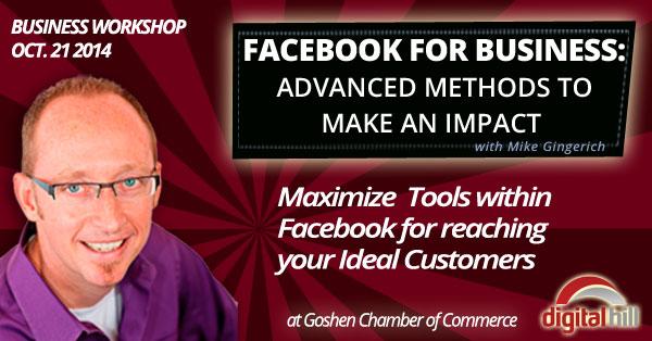 workshop on advanced facebook marketing at Goshen Chamber