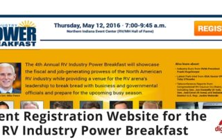 Event Registration Website for the RV Industry Power Breakfast