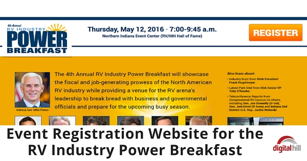 Event Registration Website for the RV Industry Power Breakfast