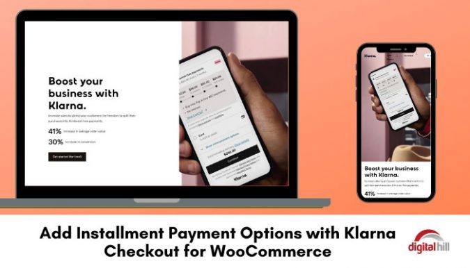 Laptop and mobile phone showing Klarna for WooCommerce.