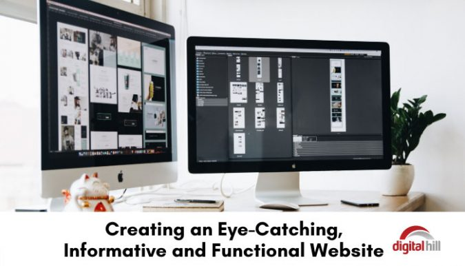 2 desk top computer monitors showing an eye-catching, functional website.