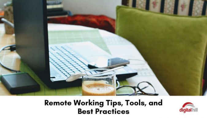 Tools to work remotely, laptop and mobile phone in a home office.