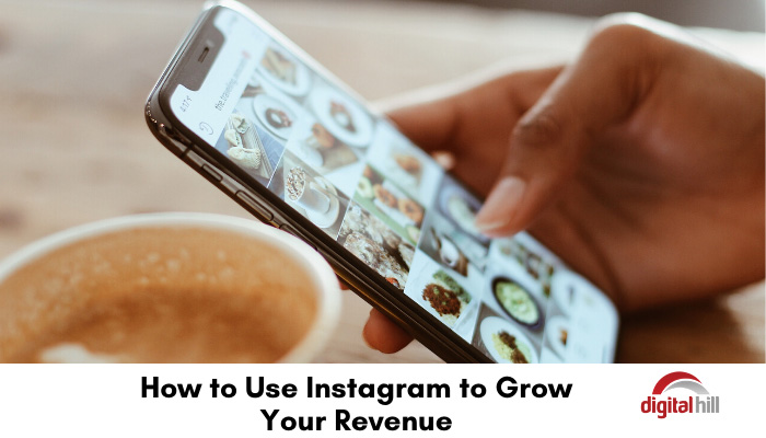 Cup of coffee and mobile phone showing an Instagram page.