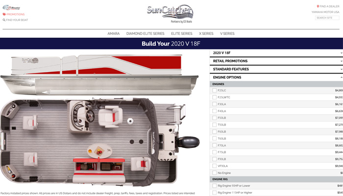 Example of Digital Hill's Product Builder software for a website.