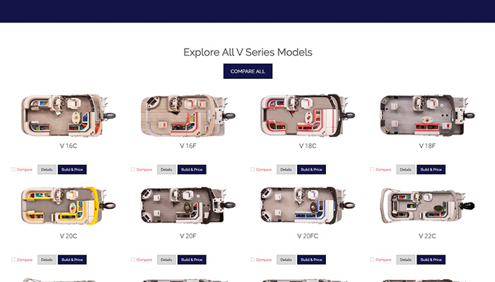 Example of Product Builder software on a boating manufacturer's website .