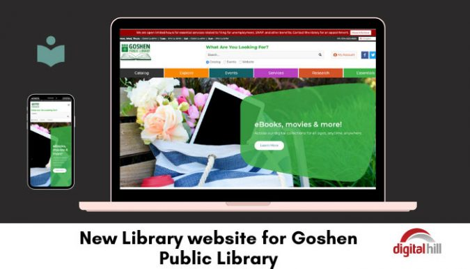 Home page of the new library-website-for-Goshen public library.