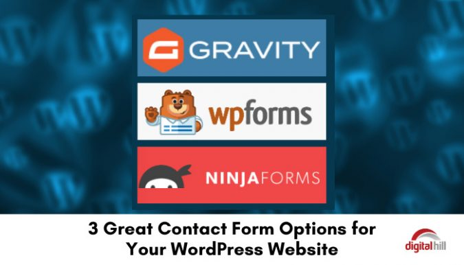3 logos of Contact Form options for your WordPress website.