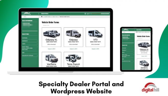 Custom dealer portal on a WordPress website.
