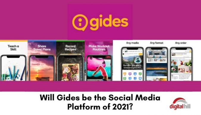 Yellow Gides Social media logo and smartphone images of the social media platform on a magenta background.