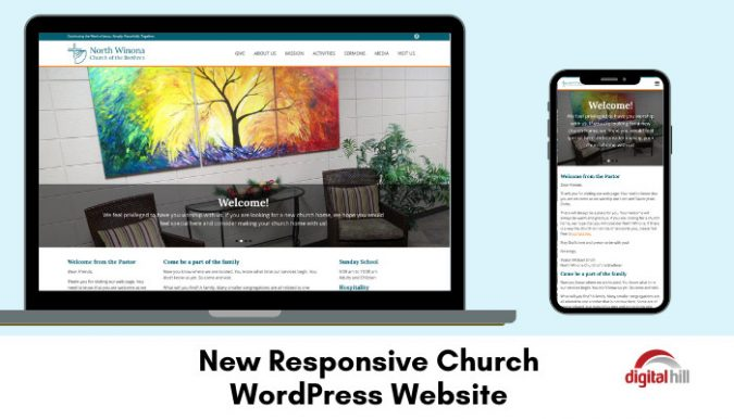 Responsive church wordpress website on laptop and mobile phone.