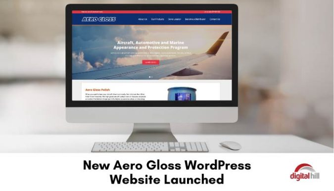 New-Aero-Gloss-WordPress-Website-Launched as shown on desktop computer.