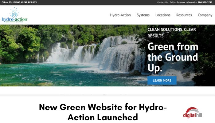 Beautiful waterfall hero image for new green website for Hydro-Action website.