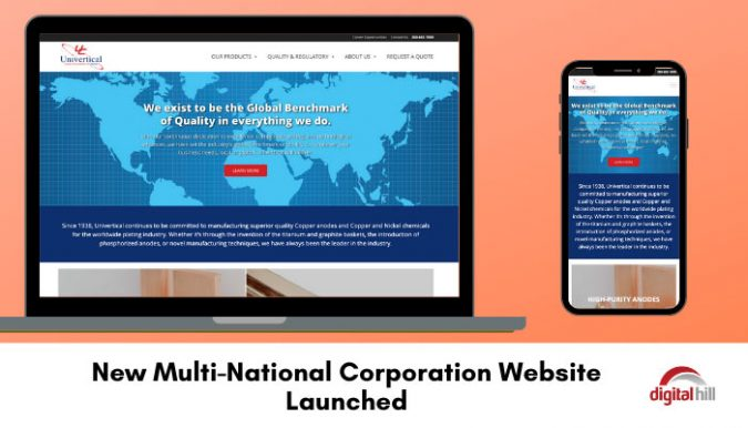 New-Multi-National-Corporation-Website-Launched - shown on laptop and mobile phone.