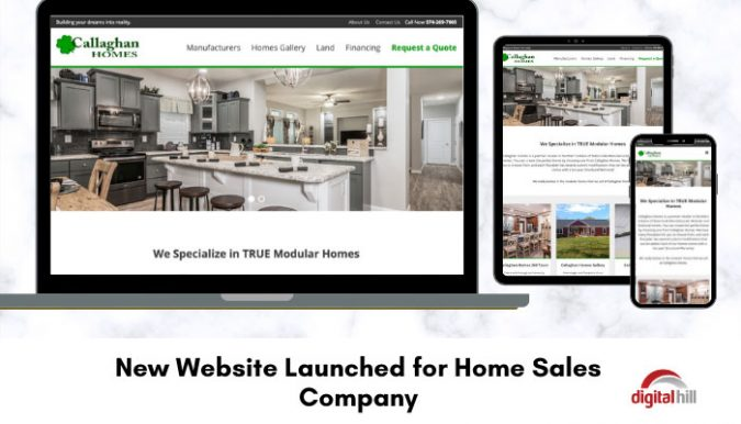 New-Website-Launched-for-Home-Sales-Company show on laptop, mobile and tablet.