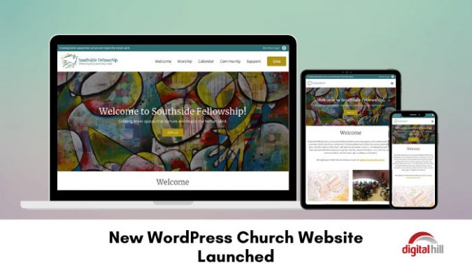 New-WordPress-Church-Website- shown on laptop and 2 mobile devices.