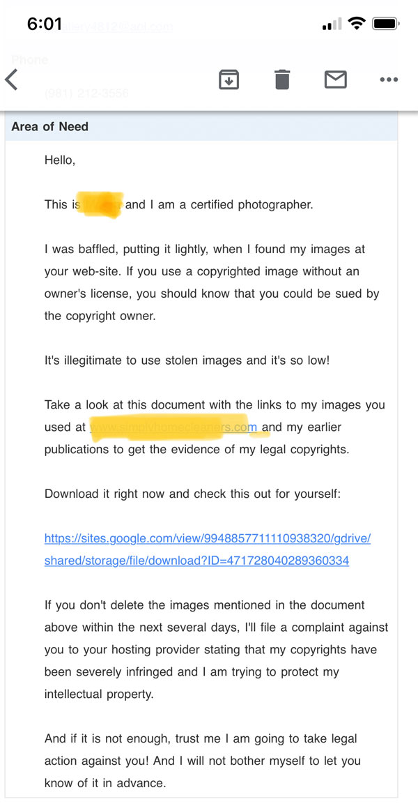 example of phishing email.