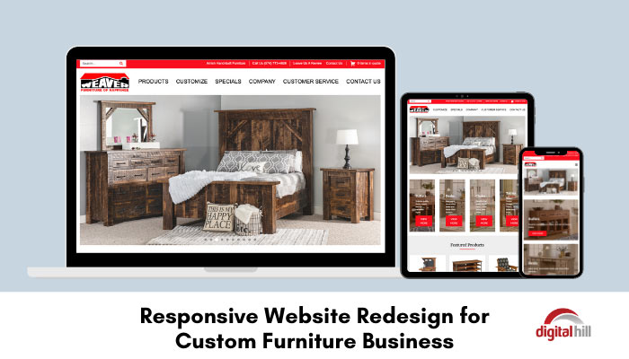 Responsive Website Redesign for Custom Furniture Business shown on phone, tablet, and laptop.