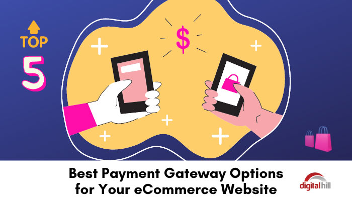 Colorful graphic of payment gateway for ecommerce.