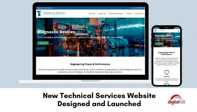 Technical Services website on laptop and mobile phone.