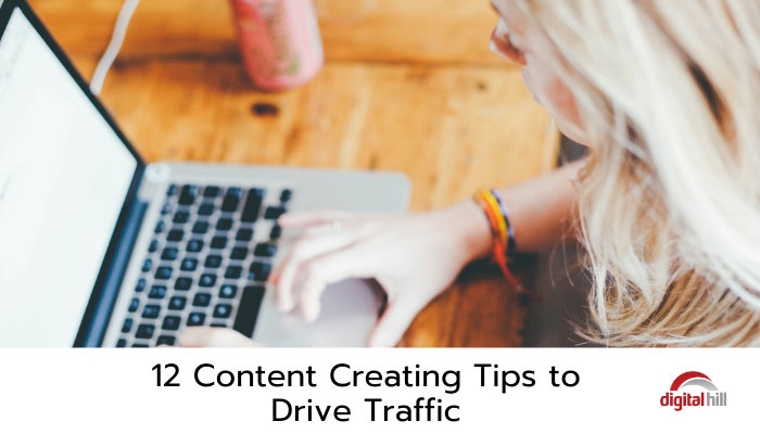 Content creating tips being typed on laptop.